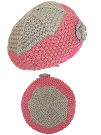 Accessorize Girls PINK Knitted Corsage Beanie