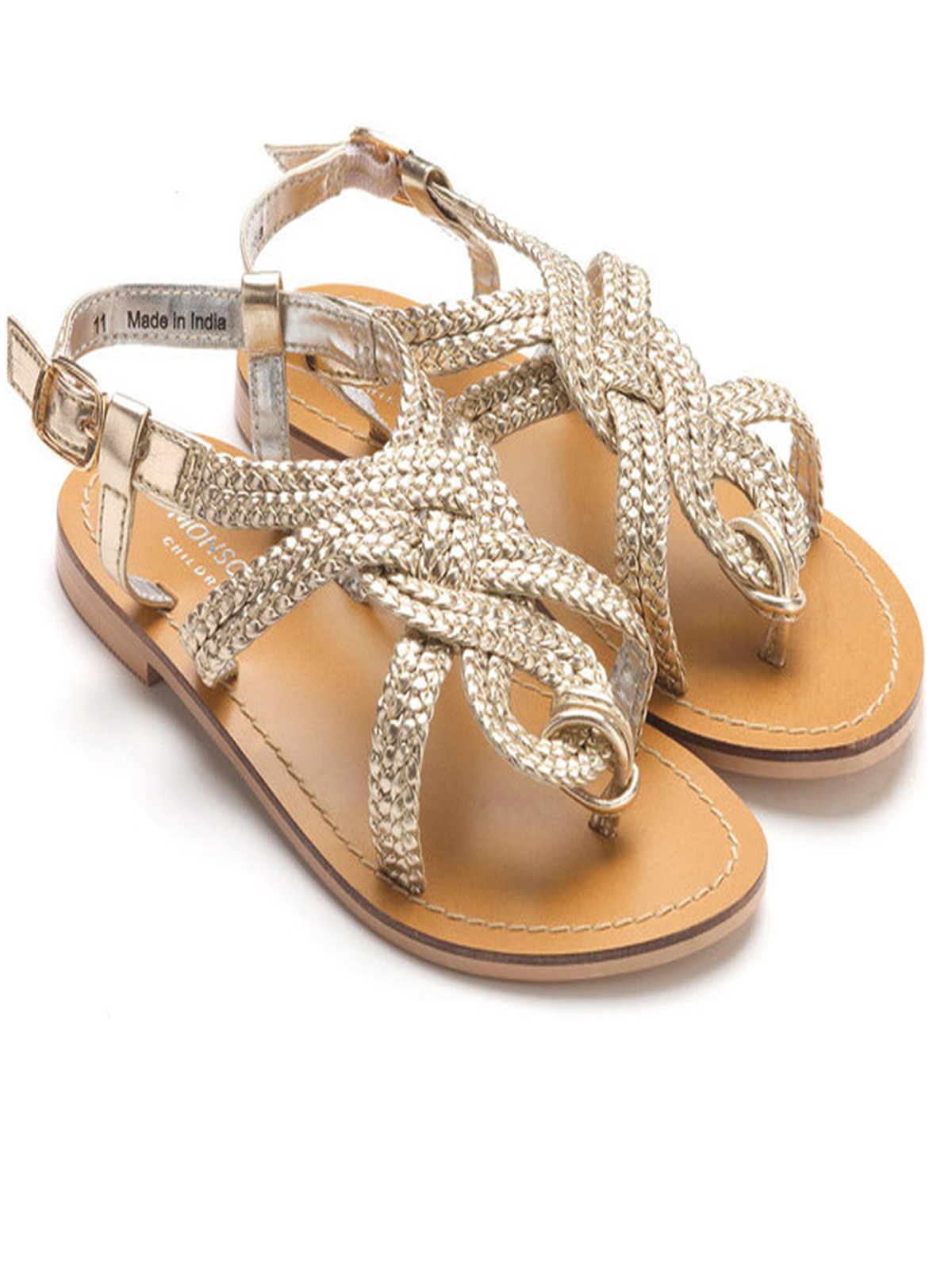 1470b8dbdee7ef M0nsoon Girls GOLD Plaited Leather Sandals - Shoe Size 7 to 13