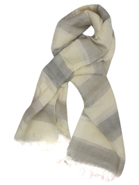 3SPRIT CREAM and STONE  Blocked Stripe Oversized Linen Blend Scarf