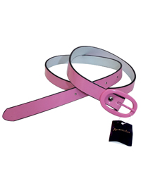 M0NS00N Accessorize Girls PINK Contrast Trim Patent Belt - Age 3/5yrs