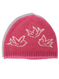 M0nsoon GIRLS PINK Knitted Bird Print Hat - Age 1-3