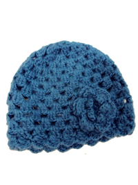 Accessorize GIRLS BLUE Flower Corsage Knitted Hat - Age 3/6yrs to 6/13yrs