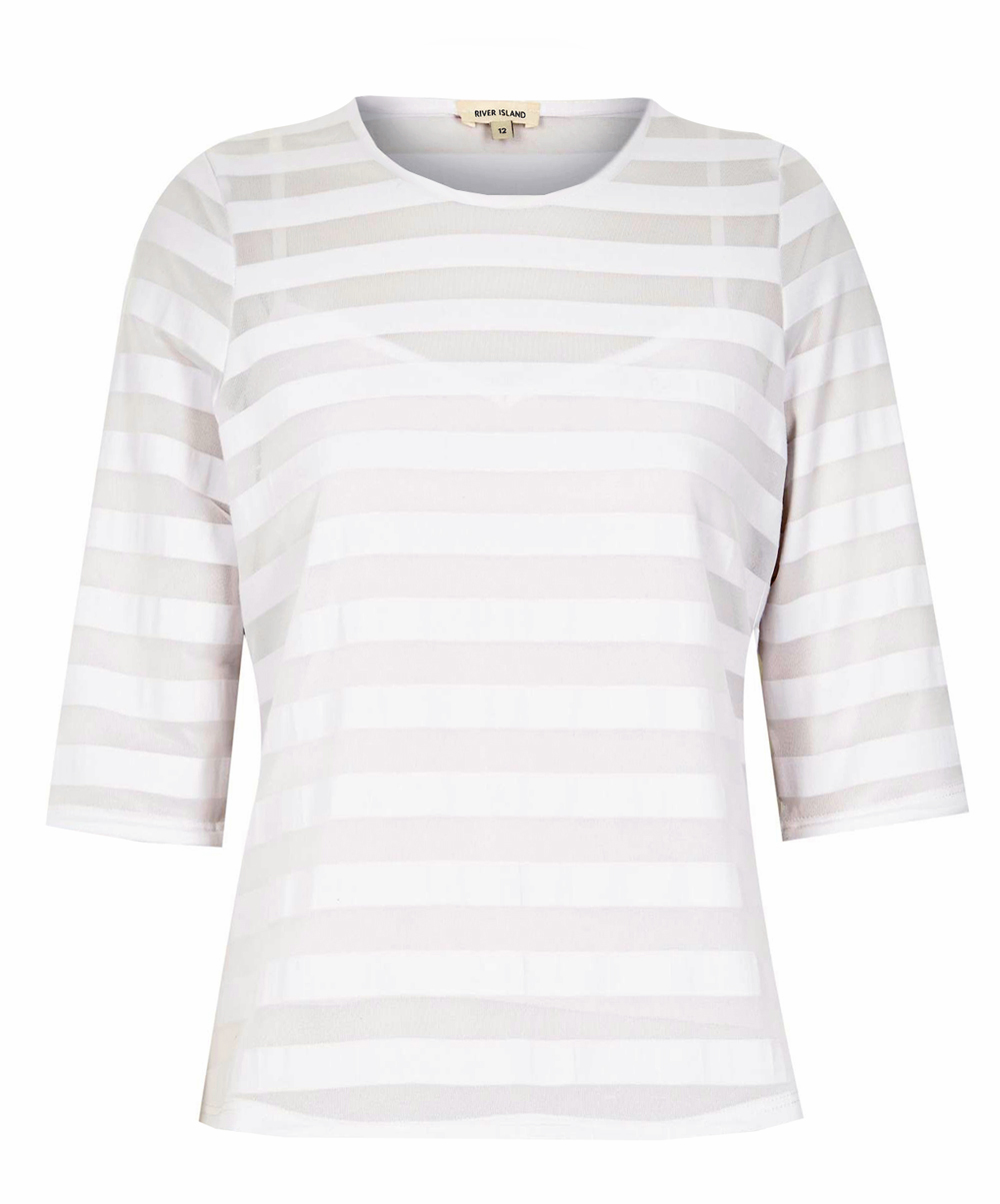R1ver 1sland WHITE Mesh Stripe Fitted Tee - Size 6 to 18