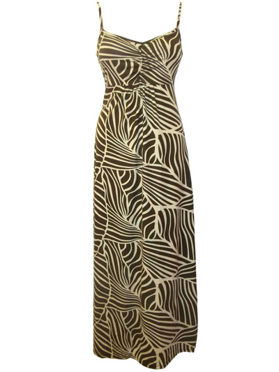 BROWN Palm Print Ruched Bust Maxi Dress - Size 10