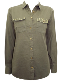 C&A KHAKI Pure Cotton Studded Pocket Shirt - Size 10 to 20 (XSmall to 2XLarge)