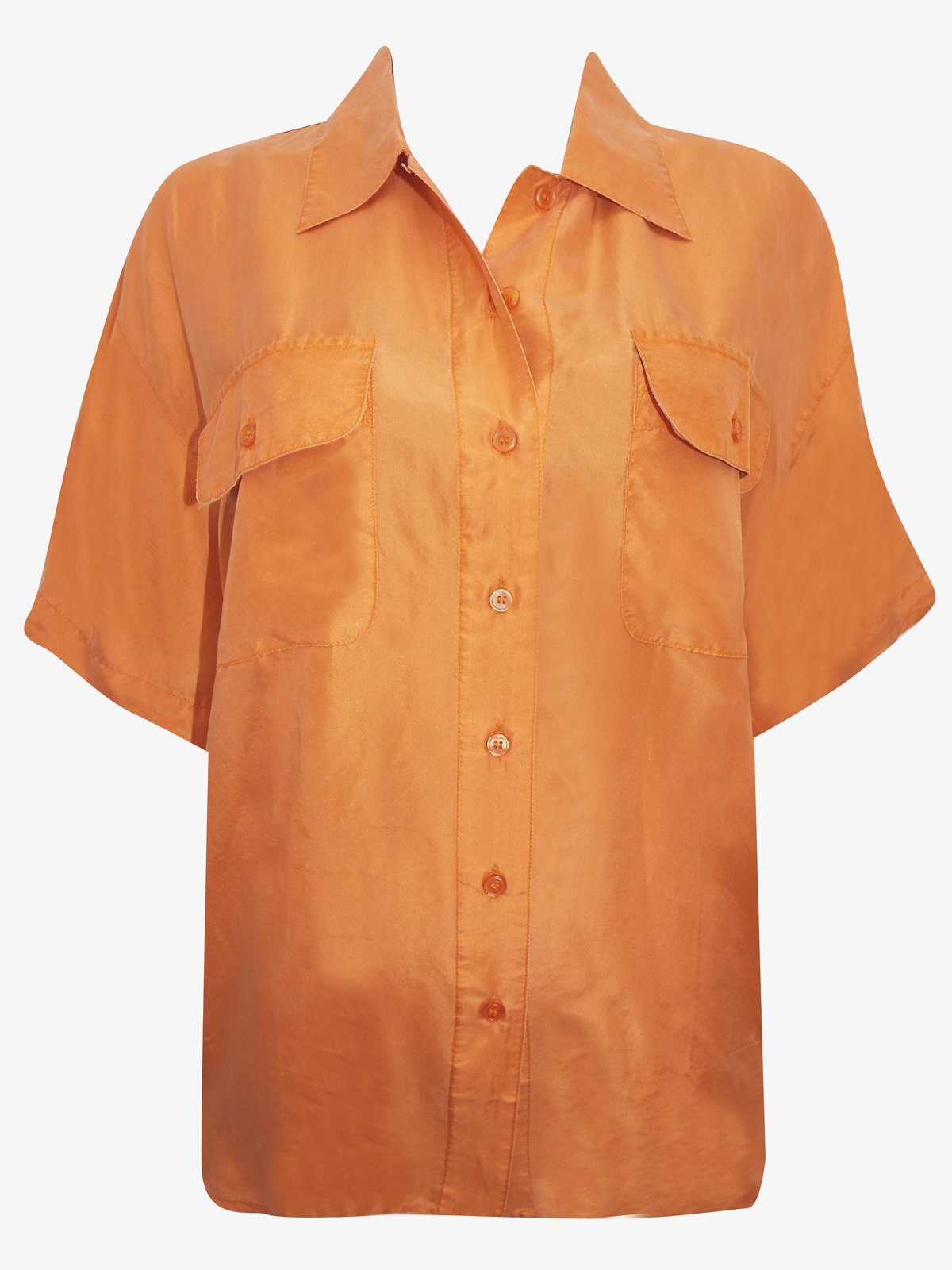 Cocoon ORANGE Silk Button Through Short Sleeve Blouse - UK Size 16 to 20