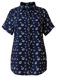 S1mplyBe NAVY Lip Print Shirt - Plus Size 12 to 32