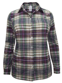 PLUS SIZE Purple Mix Checked COTTON Long Sleeve Shirt - Size 12 to 32