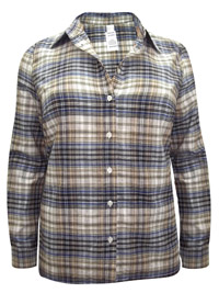 BLUE Pure Cotton Long Sleeve Checked Shirt - Plus Size 16 to 30