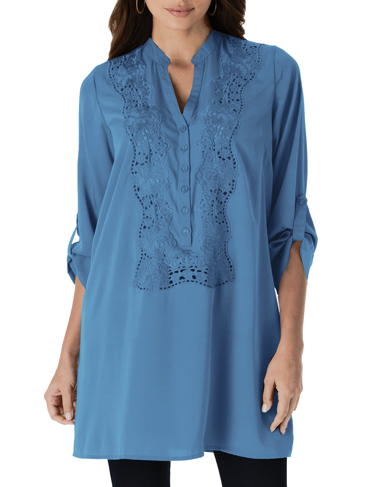 Denim 24/7 BLUE Rose Lace Tunic - Plus Size 14 to 24 (US 12w to 22w)