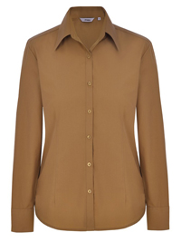Disley CARAMEL Cotton Blend Long Sleeve Blouse - Size 6 to 30