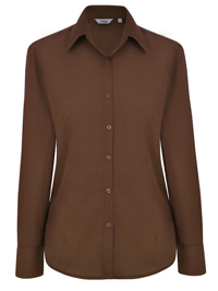 Disley CHOCOLATE Cotton Blend Long Sleeve Blouse - Size 6 to 30