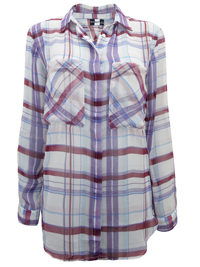 Tutti Frutti PURPLE Longline Checked Shirt - Size 10/12 to 22/24