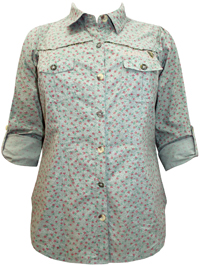 3vans GREEN Pure Cotton Blossom Print Shirt - Plus Size 14 to 30
