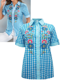 B4DER BLUE Gingham Check Short Sleeve Embroidered Shirt - Size 10 to 26 (EU 36 to 52)