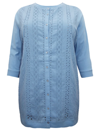 BLUE-CHAMBRAY Broderie Anglaise Button Through Top - Plus Size 18/20 to 38/40 (L to 5XL)