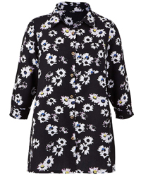 Anthology BLACK Linen Blend Floral Print Blouse - Plus Size 14 to 32