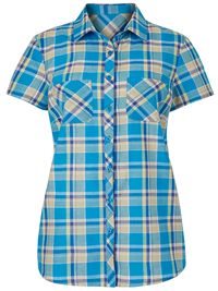 Julipa TURQUOISE Short Sleeve Checked Shirt - Plus Size 10 to 30