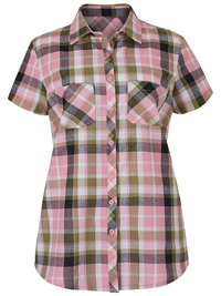Julipa PINK Short Sleeve Checked Shirt - Plus Size 14 to 30