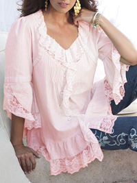 Denim 24/7 PINK Lace Panel Self Stripe Blouse - Plus Size 12 to 20