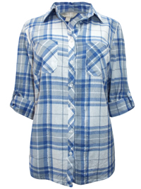 Anthology BLUE Soft Touch Checked Shirt - Plus Size 16 to 18
