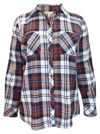 Anthology BLUE Checked Long Sleeve Shirt with Pocket - Size 10 to 16