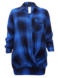 Capsule BLUE Long Sleeve Checked Wrap Top - Size 10 to 32