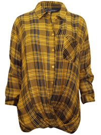 Capsule YELLOW Long Sleeve Checked Wrap Top - Plus Size 12 to 32