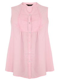 Y0URS Light Pink Sleeveless Pintuck Detail Cotton Blouse - Size 14 to 34/36