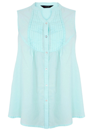 Y0URS Aqua Sleeveless Pintuck Detail Cotton Blouse - Size 14 to 34/36