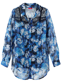 Together BLUE Lace Shoulder Sheer Floral Blouse - Size 10 to 28