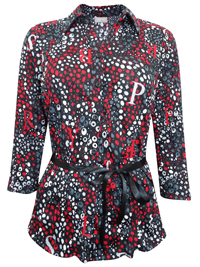 Canda BLACK Printed 3/4 Sleeve Shirt with Ribbon Belt - Size 12 to 18 (38 to 44)