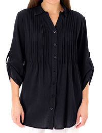 Woman Within BLACK Pintuck Roll Sleeve Shirt - Plus Size 18/20 to 42/44 (Medium to 5X)