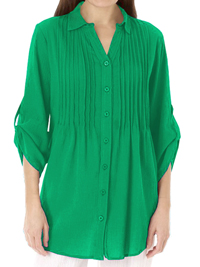 Woman Within GREEN Pintuck Roll Sleeve Shirt - Plus Size 18/20 to 42/44