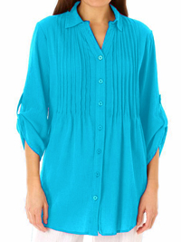 Woman Within AQUAMARINE Pintuck Roll Sleeve Shirt - Plus Size 18/20 to 42/44