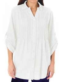 Woman Within WHITE Pintuck Roll Sleeve Shirt - Plus Size 18/20 to 42/44 (Medium to 5X)