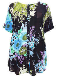 Phool BLACK Printed Short Sleeve Button Through Blouse - OneSize Fits Plus Size 24 to 28