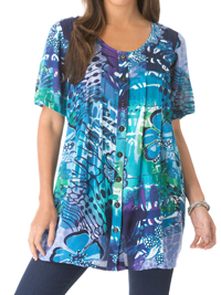 Roamans BLUE OASIS Print Crinkle Gauze Angelina Tunic - Plus Size 12 to 42/44 (Small to 6X)