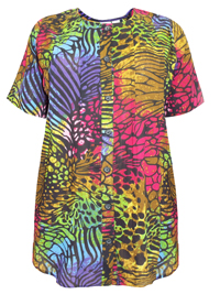 Roamans BLACK Multi Wings Angelina Crinkle Gauze Tunic - Plus Size 12 to 42/44 (Small to 6X)