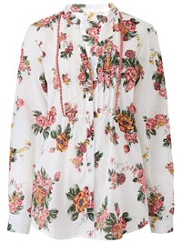 Julipa WHITE Pure Cotton Floral Print Blouse - Plus Size 12 to 30