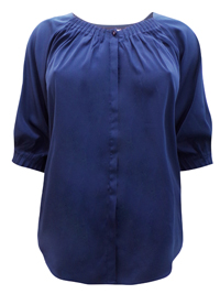 Denim 24/7 NAVY Button Through Pleated 3/4 Sleeve Top - Plus Size 12 to 32