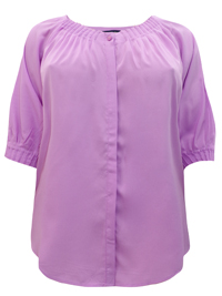 Denim 24/7 LILAC Button Through Pleated 3/4 Sleeve Top - Plus Size 12 to 32