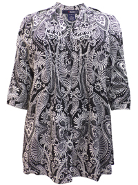 Denim 24/7 BLACK Floral Print Pleated Roll Sleeve Shirt - Plus Size 12 to 32
