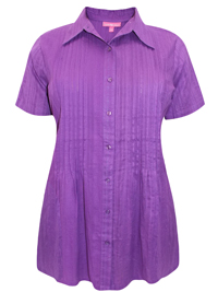 Woman Within PURPLE-BERRY Waffle Stripe Pleated Short Sleeve Shirt - Plus Size 18/20 to 46/48 (Medium to 6X)