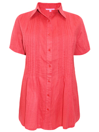 Woman Within RED Waffle Stripe Pleated Short Sleeve Shirt - Plus Size 18/20 to 42/44 (Medium to 5X)