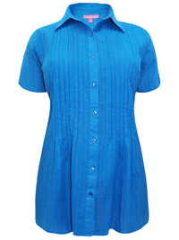 Woman Within BLUE Waffle Stripe Pleated Short Sleeve Shirt - Plus Size 18/20 to 46/48 (Medium to 6X)