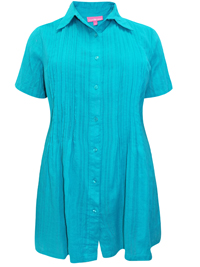 Woman Within TURQUOISE Waffle Stripe Pleated Short Sleeve Shirt - Plus Size 18/20 to 46/48 (Medium to 6X)