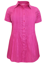 Woman Within FUCHSIA Waffle Stripe Pleated Short Sleeve Shirt - Plus Size 18/20 to 46/48 (Medium to 6X)
