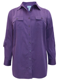 Liz&Me PURPLE Cotton Rich Roll Sleeve Shirt with Pockets - Plus Size 16/18 to 36/38 (0X to 5X)
