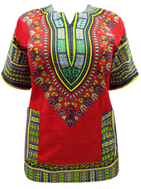 eaonplus RED Unisex Cotton Dashiki Kaftan Top - Plus Size 1 & 2 (Men L-1X & 2X-4X) (Ladies 16-20 & 22-28)